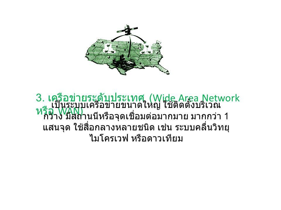 3. เครือข่ายระดับประเทศ (Wide Area Network หรือ WAN)