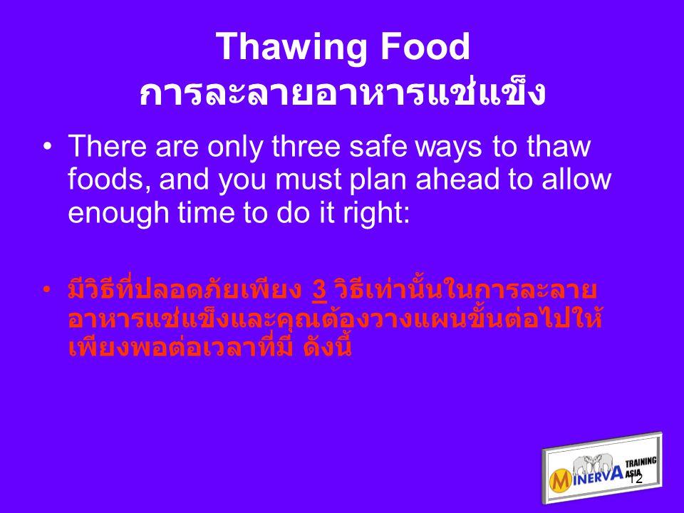 ละลายอาหารแช่แข็งด้วยการน้ำเข้าไมโครเวฟ โดยคุณจะต้องนำไปปรุงอาหารทันที