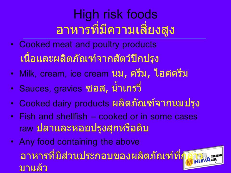 Managing high risk foods การจัดการกับอาหารที่มีความเสี่ยงสูง