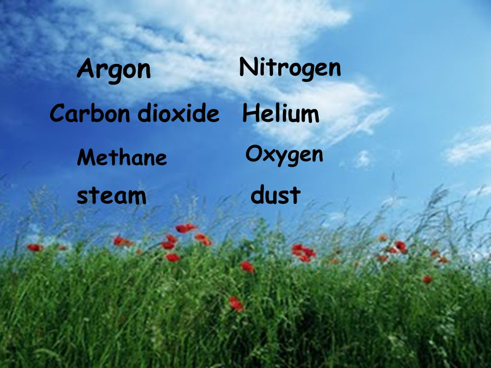 Argon Nitrogen Carbon dioxide Helium Oxygen Methane steam dust