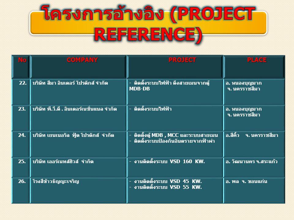 โครงการอ้างอิง (PROJECT REFERENCE)