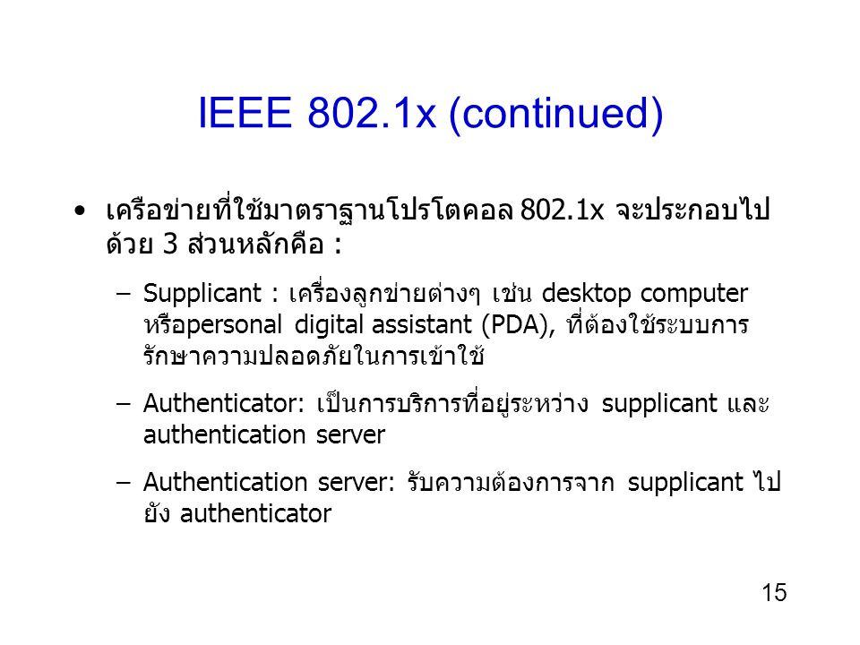 IEEE 802.1x (continued) เครือข่ายที่ใช้มาตราฐานโปรโตคอล 802.1x จะประกอบไปด้วย 3 ส่วนหลักคือ :