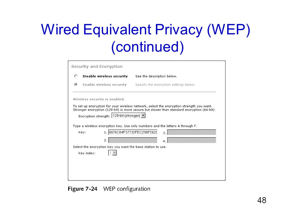 Wired Equivalent Privacy (WEP) (continued)