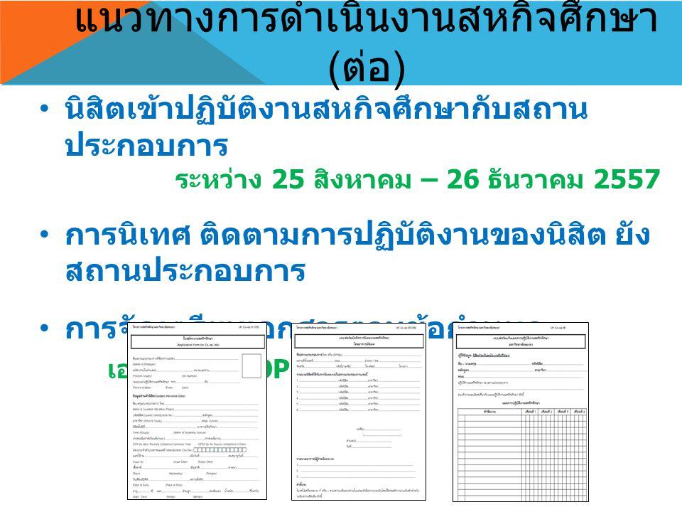 แนวทางการดำเนินงานสหกิจศึกษา (ต่อ)