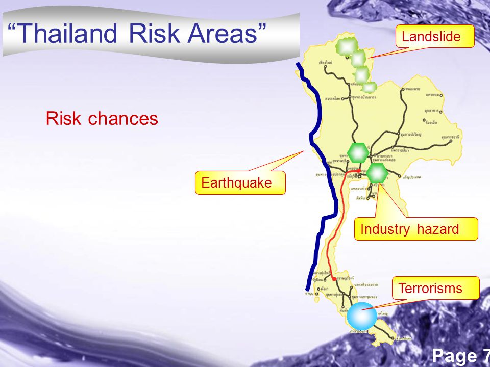 Thailand Risk Areas Risk chances Landslide Earthquake