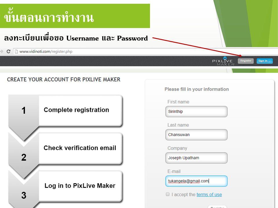 ขั้นตอนการทำงาน ลงทะเบียนเพื่อขอ Username และ Password
