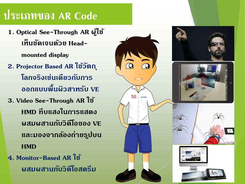 ประเภทของ AR Code 1. Optical See-Through AR ผู้ใช้เห็นชัดเจนด้วย Head-mounted display.