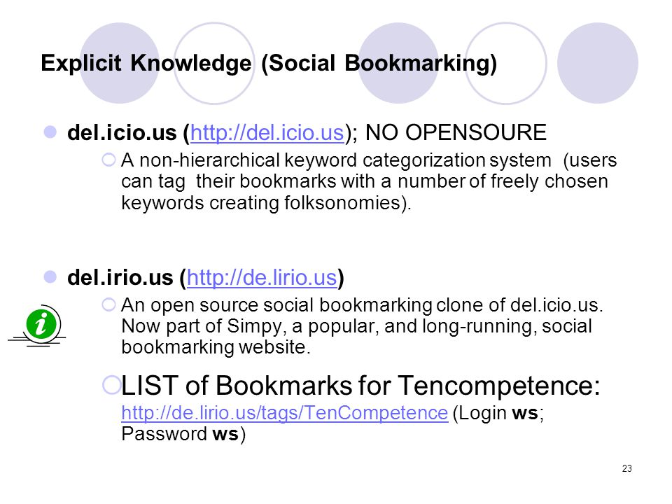 Explicit Knowledge (Social Bookmarking)