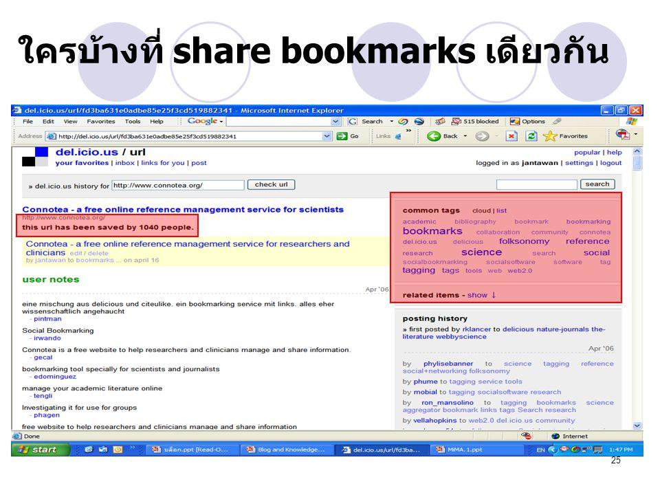 ใครบ้างที่ share bookmarks เดียวกัน