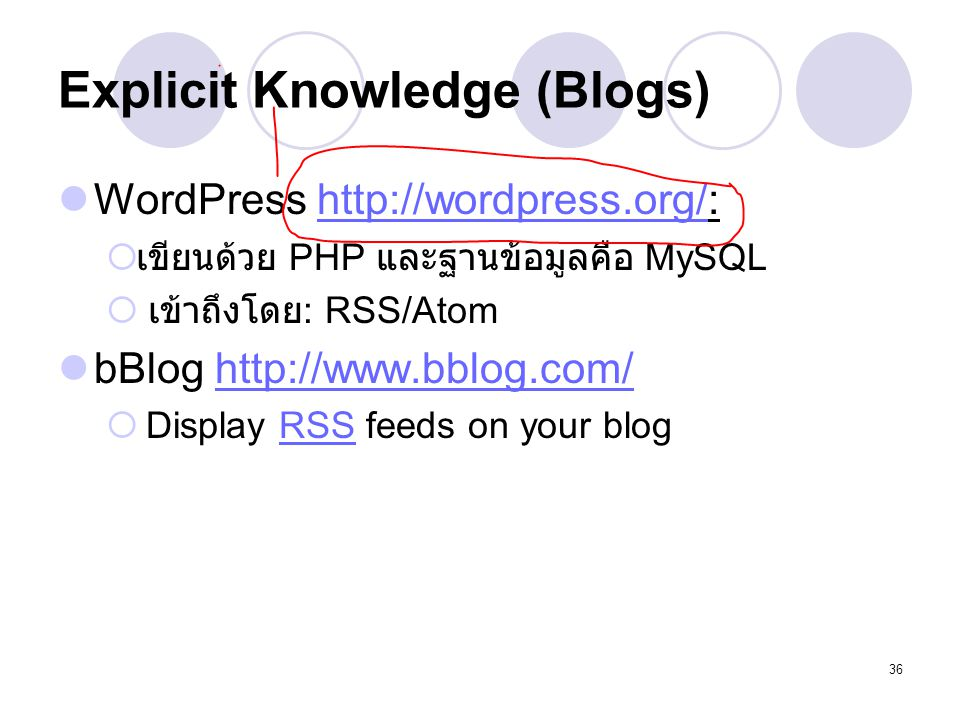 Explicit Knowledge (Blogs)