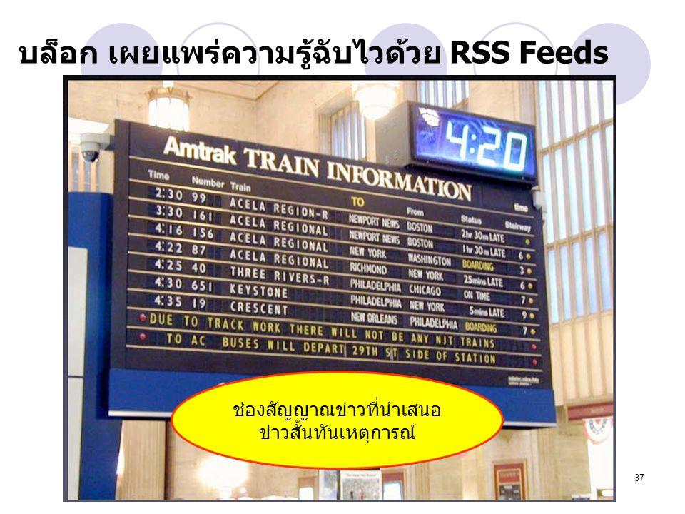 บล็อก เผยแพร่ความรู้ฉับไวด้วย RSS Feeds