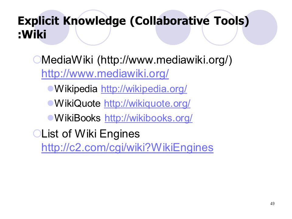 Explicit Knowledge (Collaborative Tools) :Wiki