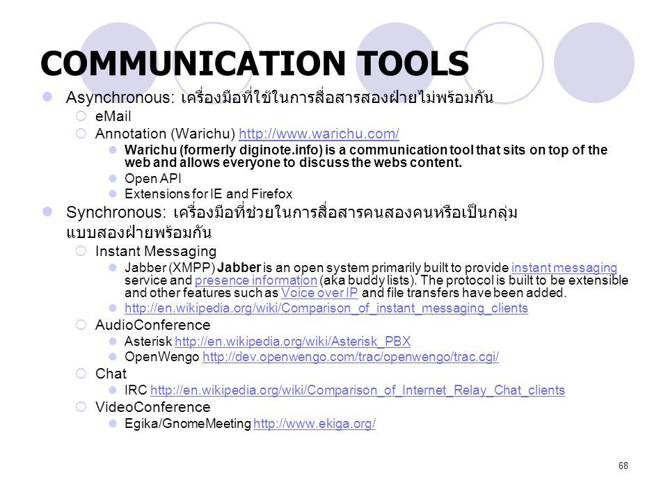 COMMUNICATION TOOLS Asynchronous: เครื่องมือที่ใช้ในการสื่อสารสองฝ่ายไม่พร้อมกัน. eMail. Annotation (Warichu) http://www.warichu.com/
