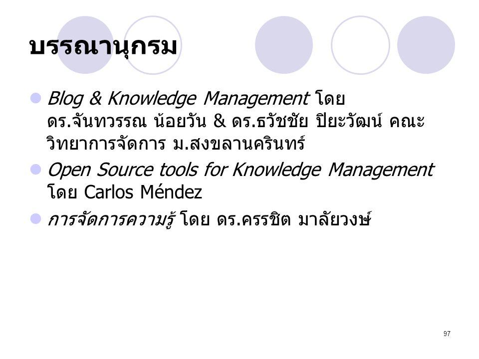 บรรณานุกรม Blog & Knowledge Management โดย ดร.จันทวรรณ น้อยวัน & ดร.ธวัชชัย ปิยะวัฒน์ คณะวิทยาการจัดการ ม.สงขลานครินทร์