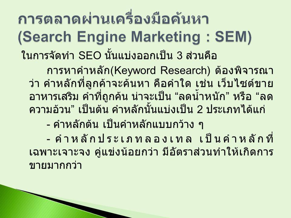 การตลาดผ่านเครื่องมือค้นหา (Search Engine Marketing : SEM)
