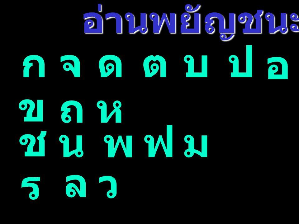 อ่านพยัญชนะ ก จ ด ต บ ป อ ข ถ ห ช น พ ฟ ม ล ร ว