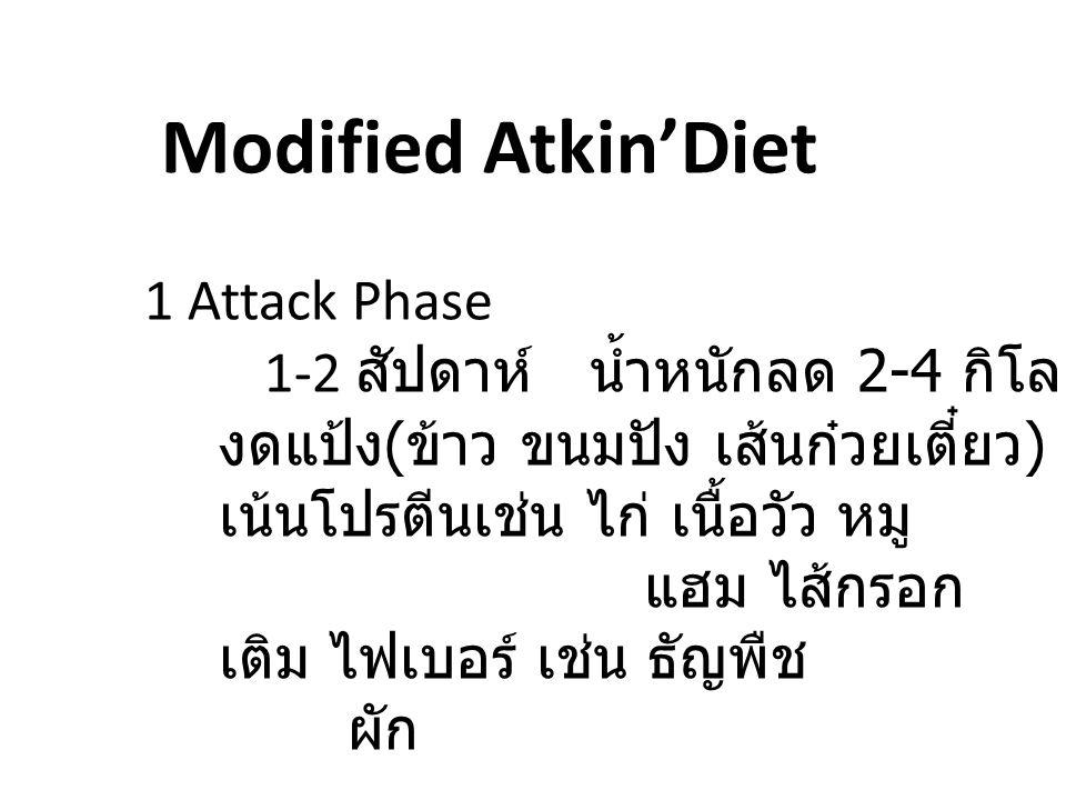 Modified Atkin'Diet 1 Attack Phase 1-2 สัปดาห์ น้ำหนักลด 2-4 กิโลกรัม