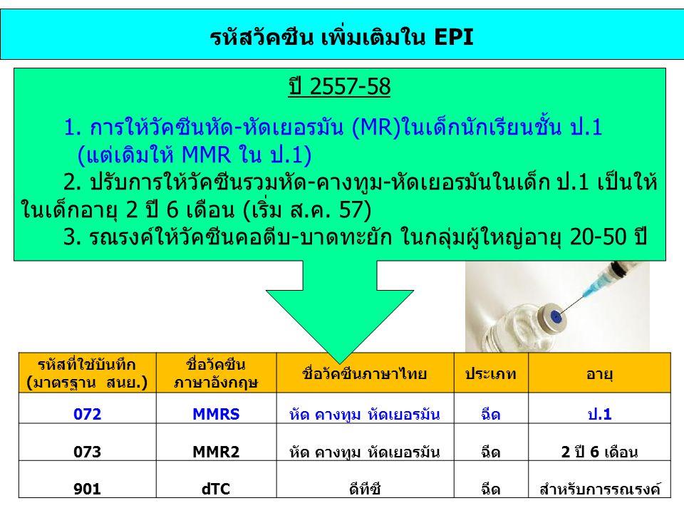 รหัสวัคซีน เพิ่มเติมใน EPI