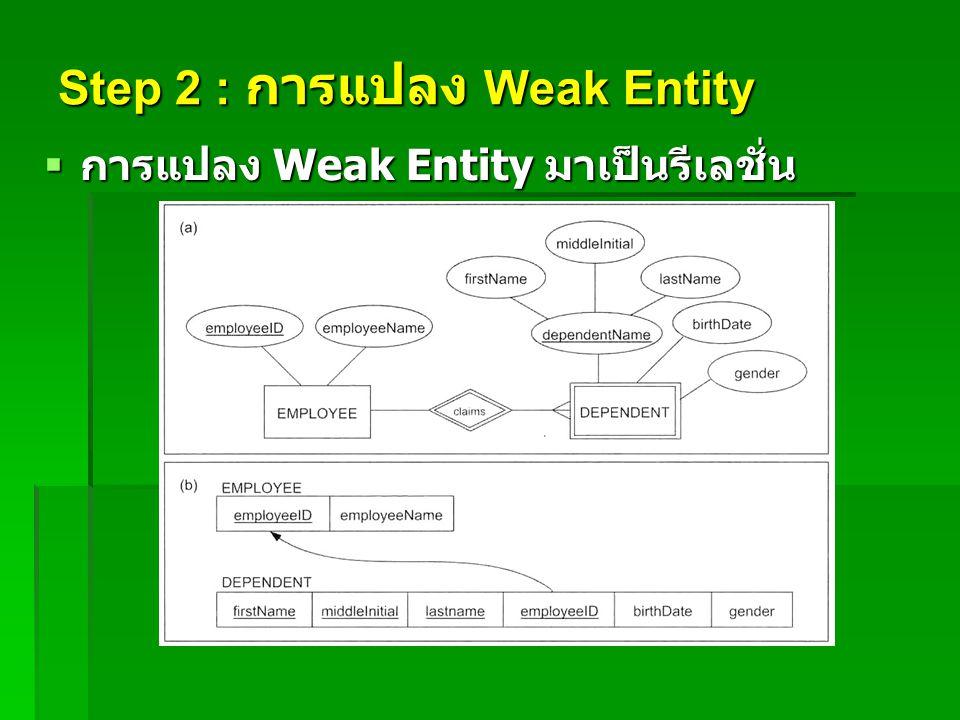 Step 2 : การแปลง Weak Entity