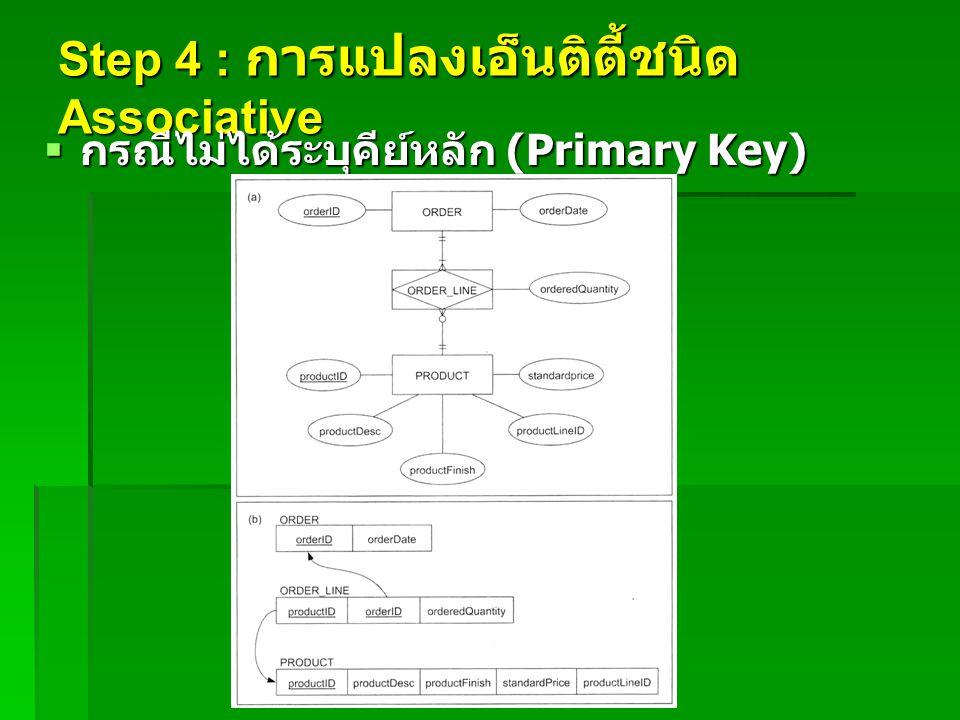 Step 4 : การแปลงเอ็นติตี้ชนิด Associative