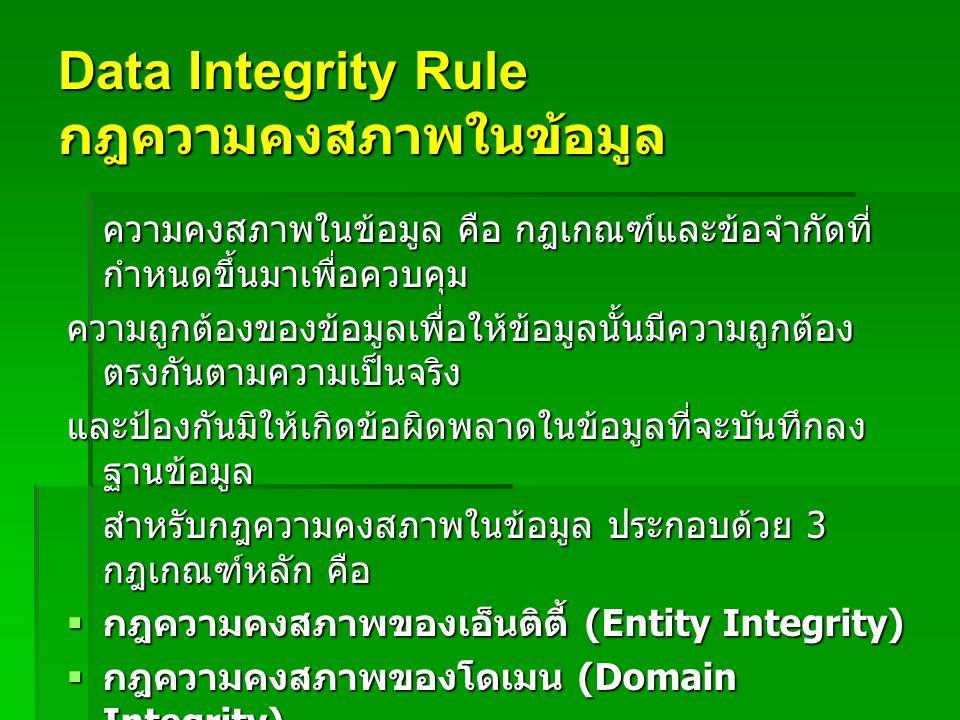 Data Integrity Rule กฎความคงสภาพในข้อมูล
