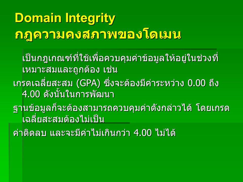 Domain Integrity กฎความคงสภาพของโดเมน