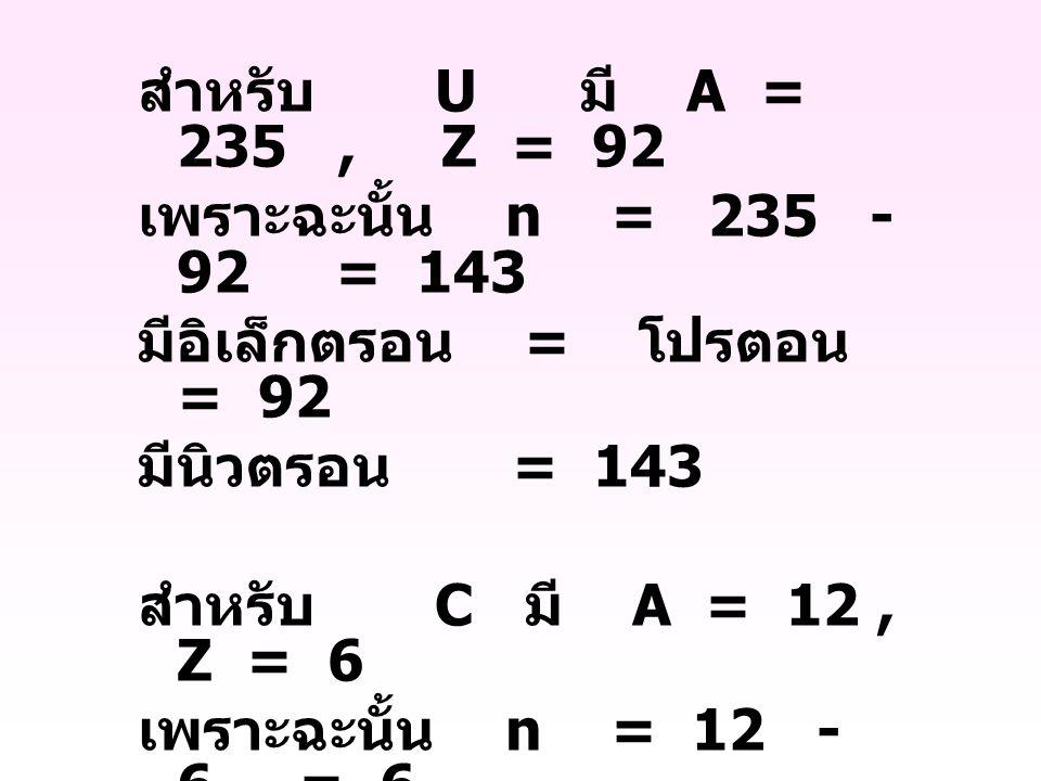 สำหรับ U มี A = 235 , Z = 92 เพราะฉะนั้น n = 235 - 92 = 143.