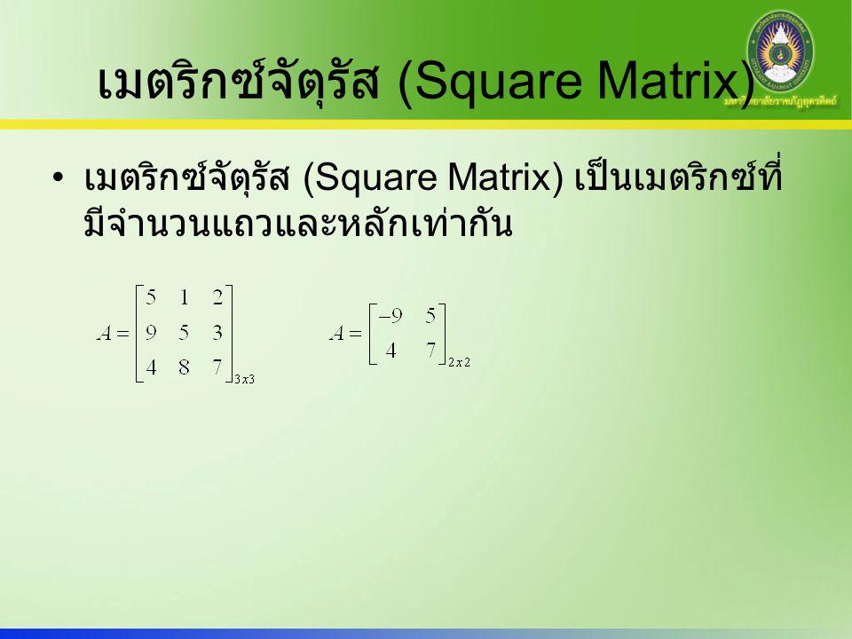 เมตริกซ์จัตุรัส (Square Matrix)