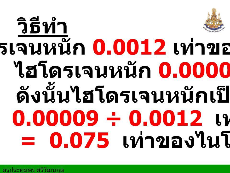 ไนโตรเจนหนัก 0.0012 เท่าของน้ำ