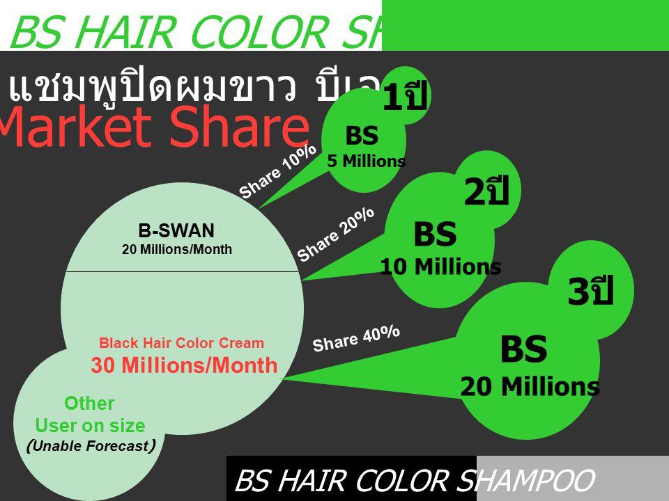 Market Share BS HAIR COLOR SHAMPOO แชมพูปิดผมขาว บีเอส 1ปี 2ปี 3ปี BS