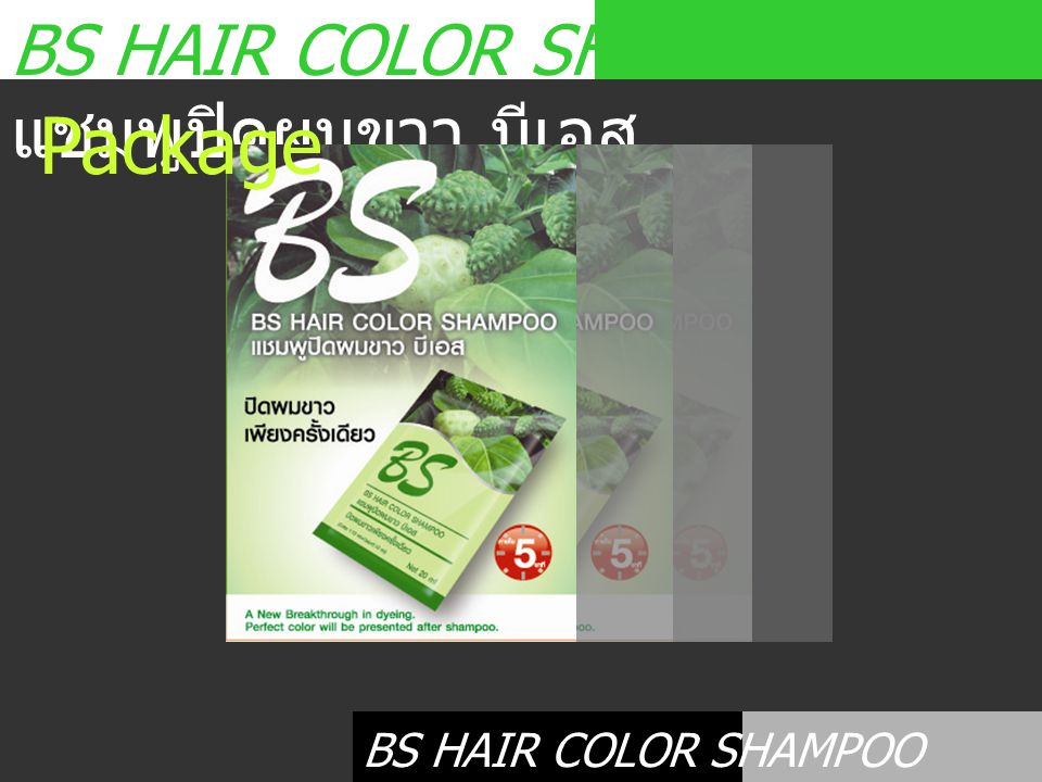 Package BS HAIR COLOR SHAMPOO แชมพูปิดผมขาว บีเอส
