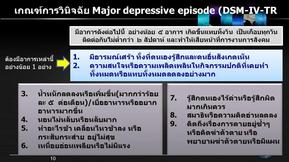 เกณฑ์การวินิจฉัย Major depressive episode (DSM-IV-TR