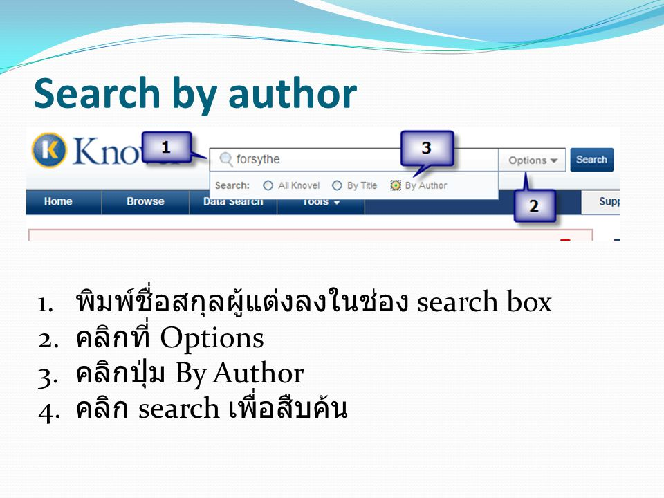 Search by author พิมพ์ชื่อสกุลผู้แต่งลงในช่อง search box