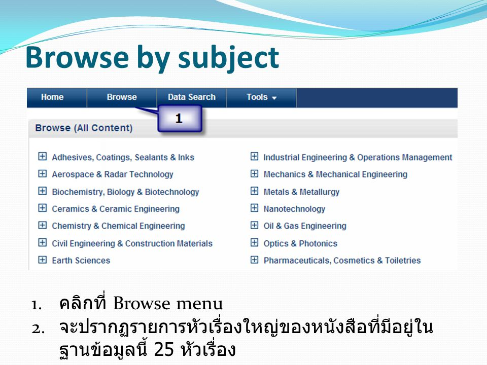 Browse by subject คลิกที่ Browse menu