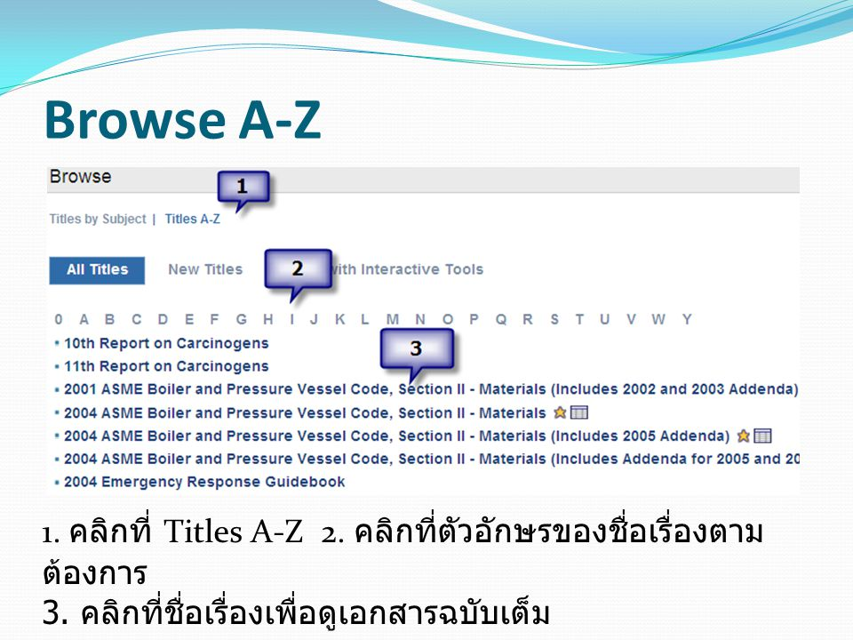 Browse A-Z 1. คลิกที่ Titles A-Z 2. คลิกที่ตัวอักษรของชื่อเรื่องตามต้องการ 3.