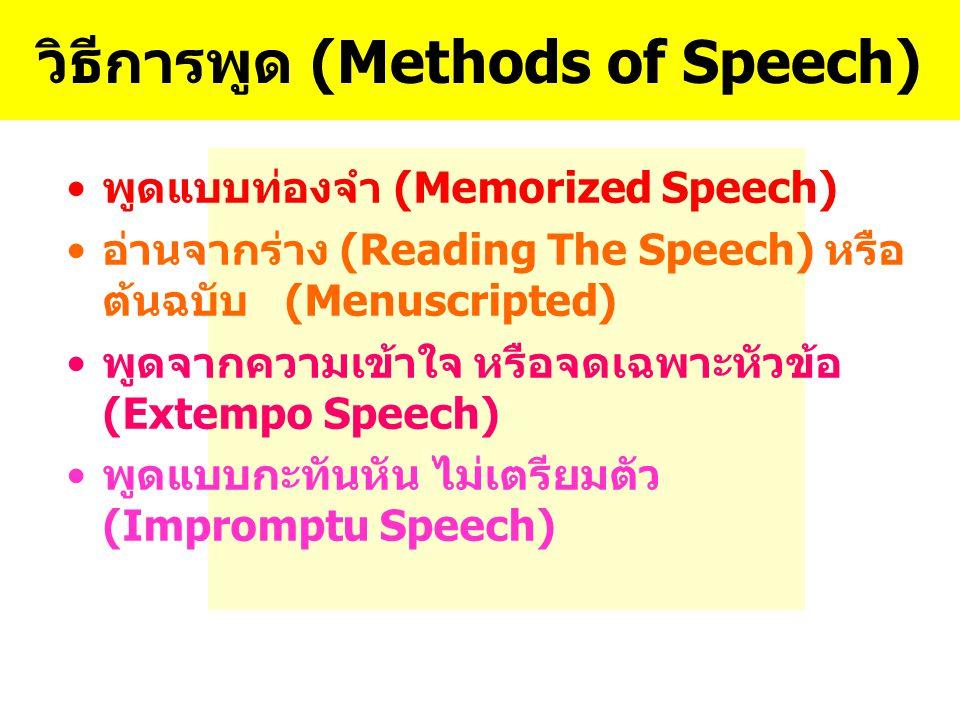 วิธีการพูด (Methods of Speech)