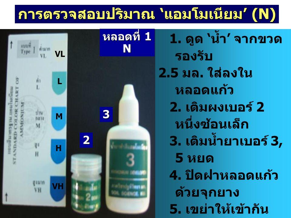 การตรวจสอบปริมาณ 'แอมโมเนียม' (N)