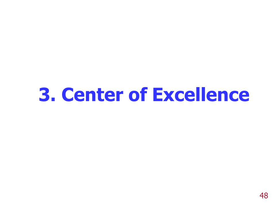 3. Center of Excellence