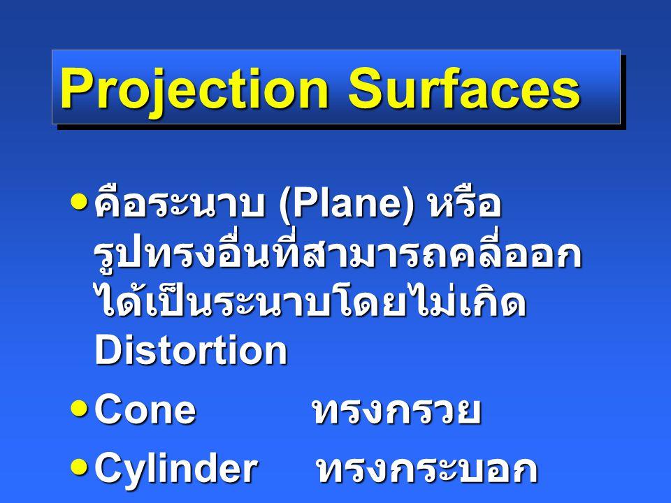 Projection Surfaces คือระนาบ (Plane) หรือรูปทรงอื่นที่สามารถคลี่ออกได้เป็นระนาบโดยไม่เกิด Distortion.
