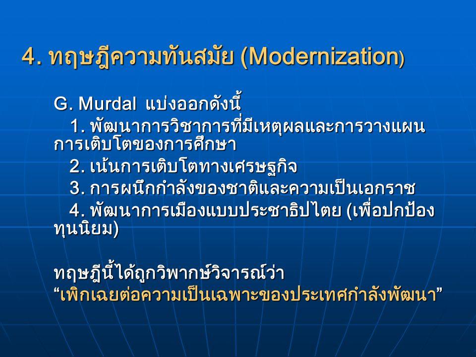 4. ทฤษฎีความทันสมัย (Modernization)