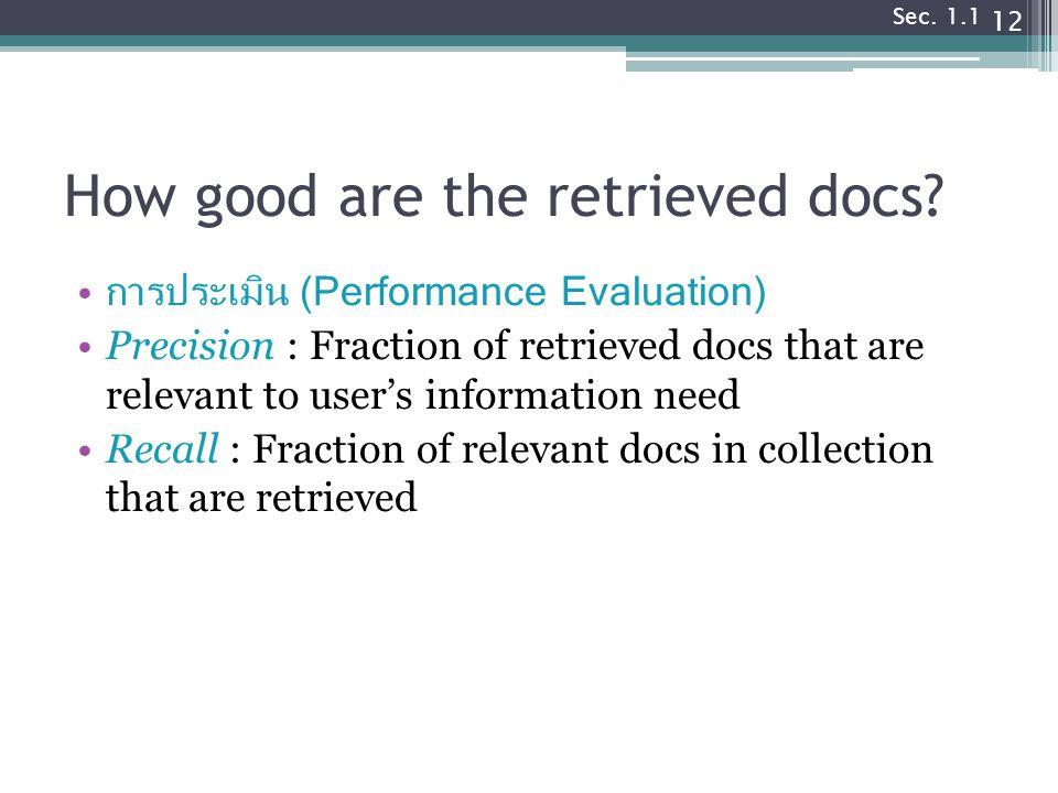 How good are the retrieved docs