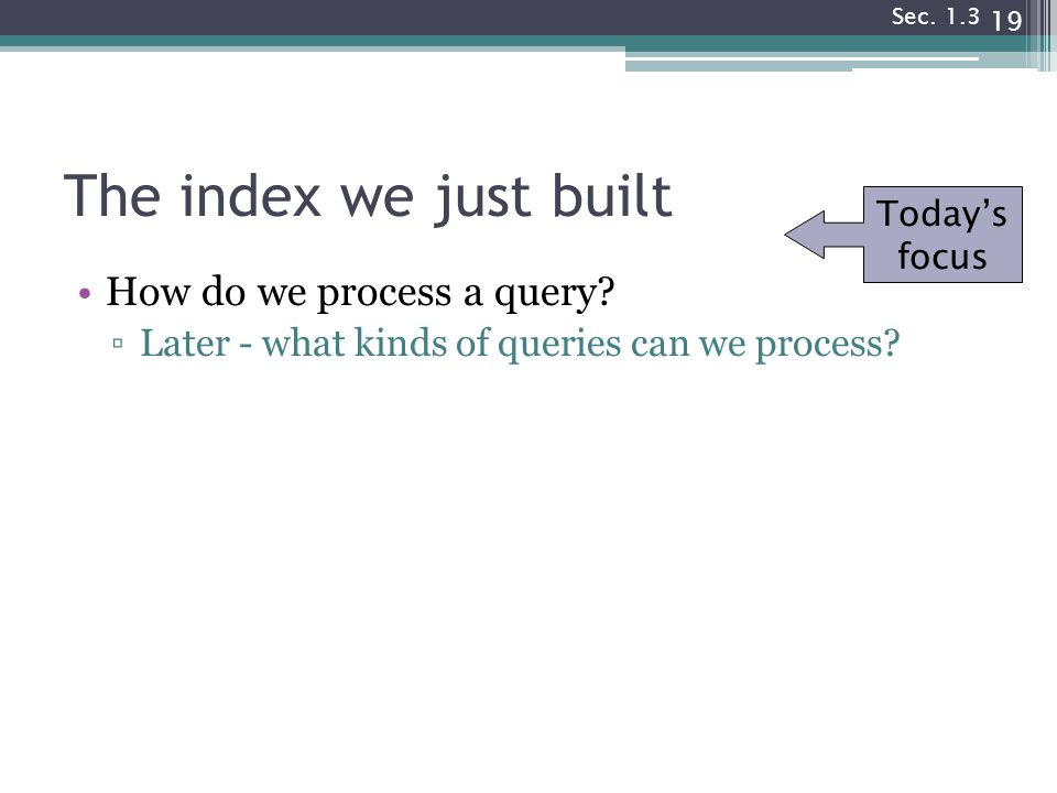 The index we just built How do we process a query