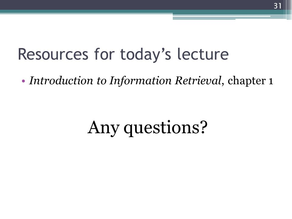 Resources for today's lecture
