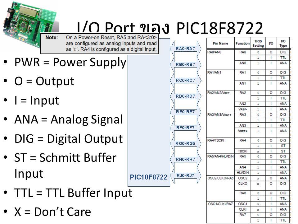 I/O Port ของ PIC18F8722 PWR = Power Supply O = Output I = Input
