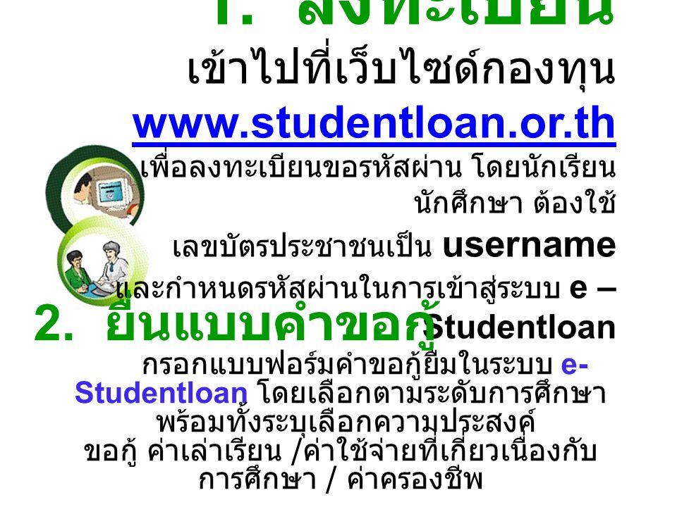 1. ลงทะเบียน เข้าไปที่เว็บไซด์กองทุน www. studentloan. or