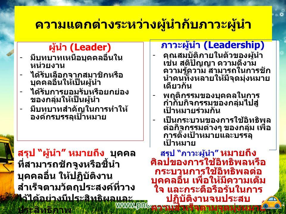 ความแตกต่างระหว่างผู้นำกับภาวะผู้นำ