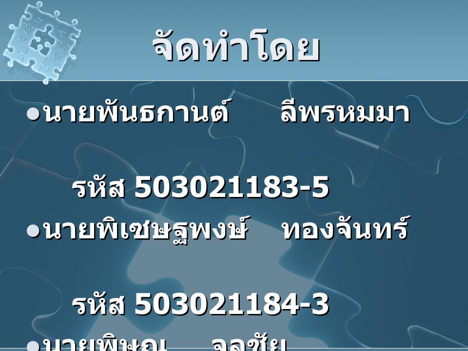 จัดทำโดย นายพันธกานต์ ลีพรหมมา รหัส 503021183-5
