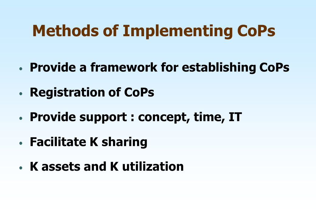 Methods of Implementing CoPs
