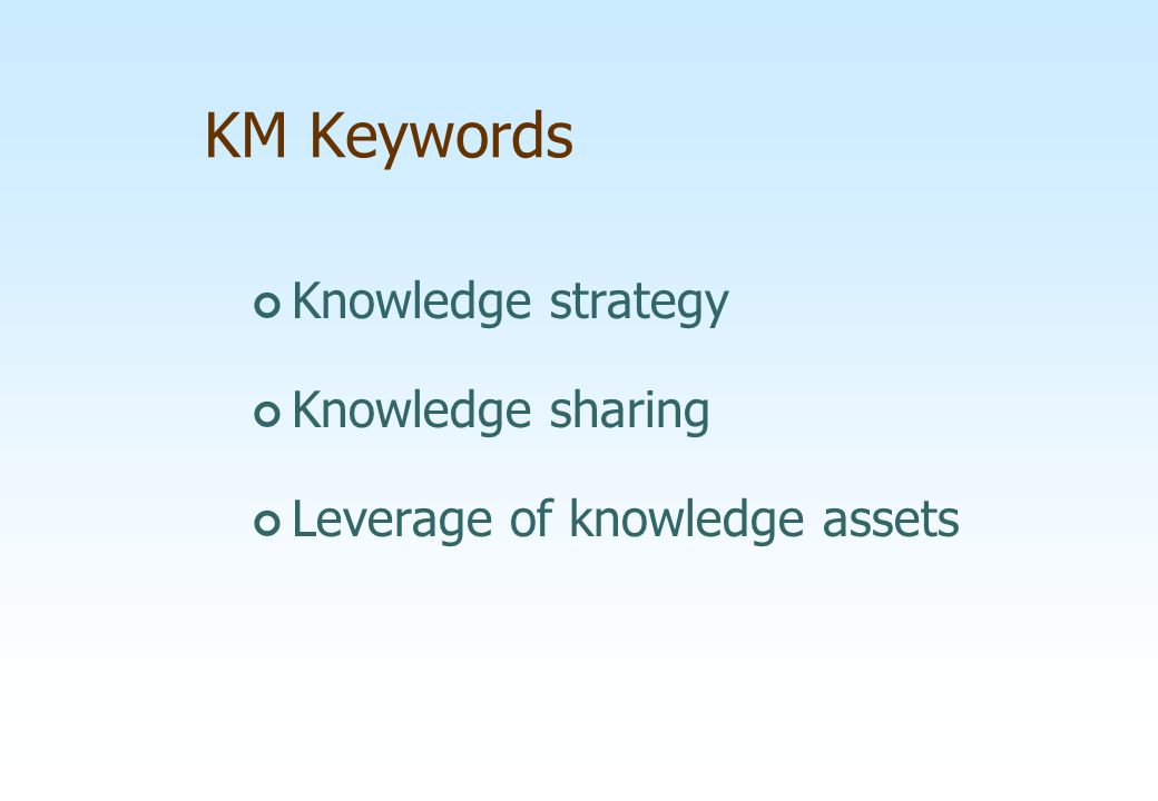KM Keywords Knowledge strategy Knowledge sharing