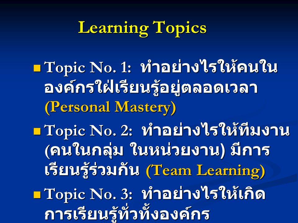 Learning Topics Topic No. 1: ทำอย่างไรให้คนในองค์กรใฝ่เรียนรู้อยู่ตลอดเวลา (Personal Mastery)